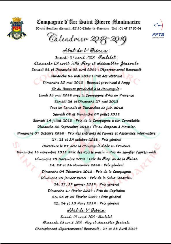 Calendrier Prix.Calendrier Des Prix De Compagnie Compagnie D Arc Saint